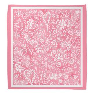 Bandana rose de coeurs et de fleurs