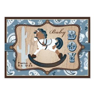 Bandanna Print & Rocking Horse Cowboy Baby Shower Card