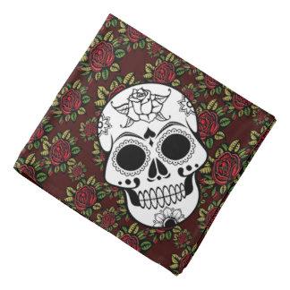 Bandanna Retro roses skull rockabilly