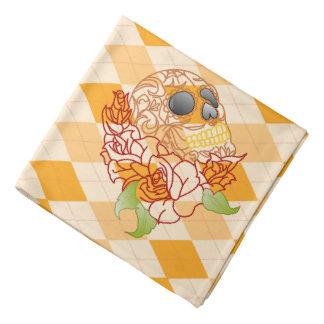 Bandanna skull Retro yellow argyle rockabilly