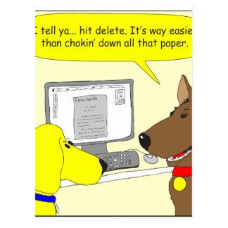 bande dessinée de chien de travail de la carte postale