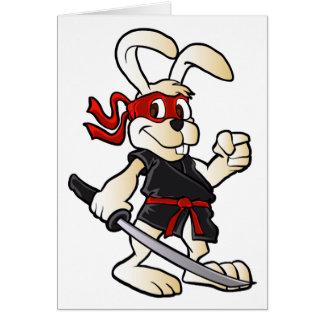 bande dessinée de lapin de ninja carte de vœux