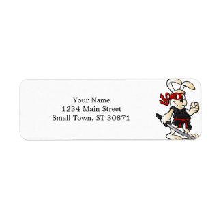 bande dessinée de lapin de ninja étiquette d'adresse retour
