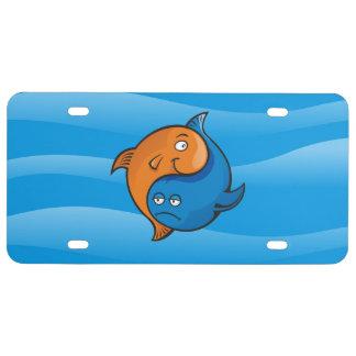 Bande dessinée de poissons de Yin Yang Plaque D'immatriculation