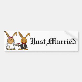Bande dessinée drôle de mariage de lapin de Brown Autocollant De Voiture