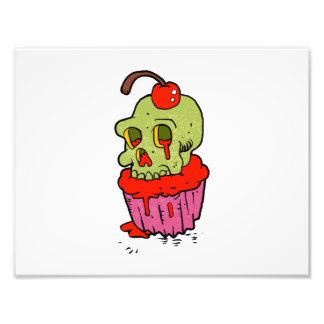 bande dessinée éffrayante de petit gâteau de crâne impression photographique