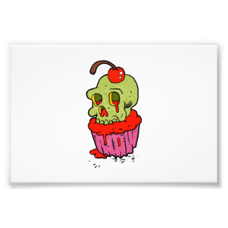 bande dessinée éffrayante de petit gâteau de crâne tirage photo