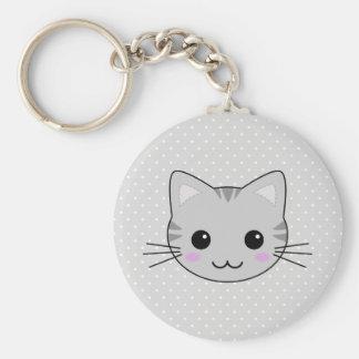 Bande dessinée grise mignonne de chat tigré de porte-clés