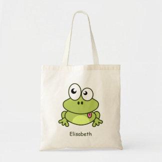 Bande dessinée mignonne drôle de grenouille sac en toile budget