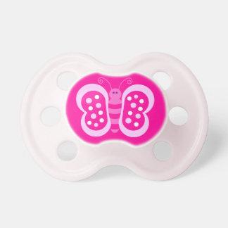 Bande dessinée rose mignonne de papillon de point  sucette pour bébé