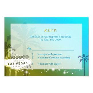 Bande tropicale de Las Vegas épousant RSVP 3 5x5 Cartons D'invitation