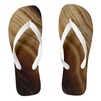 Banded Agate, Brown, Cool Nature Stone Flip Flops