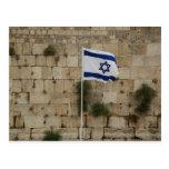 Bandeira de Israel no Muro das Lamentações Postcard