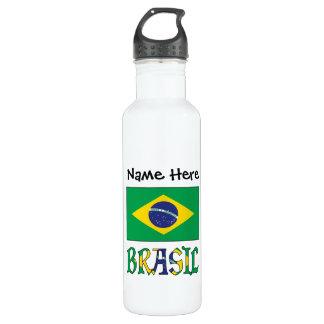 Bandeira do Brasil e Brasil Come o Nome 710 Ml Water Bottle