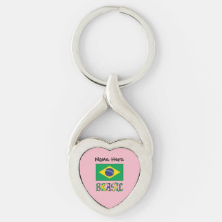 Bandeira do Brasil e Brasil Come o Nome Keychain