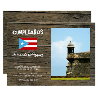 Bandera Celeste Puerto Rico Cumpleanos Invitacion Card