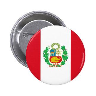 Bandera del Perú - Flag of Peru 2 Inch Round Button