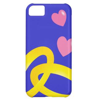 Bandes d'anneaux de mariage d'or avec des coeurs coque iPhone 5C