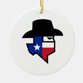 Bandit Texas Flag Icon Ceramic Ornament