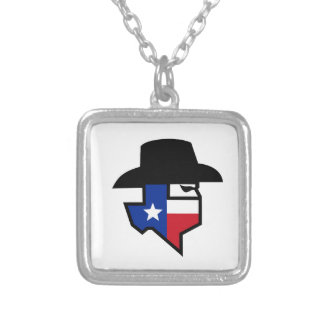 Bandit Texas Flag Icon Silver Plated Necklace