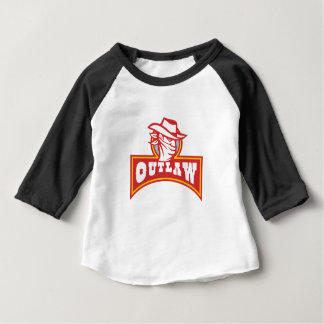 Bandit With Outlaw Text Retro Baby T-Shirt