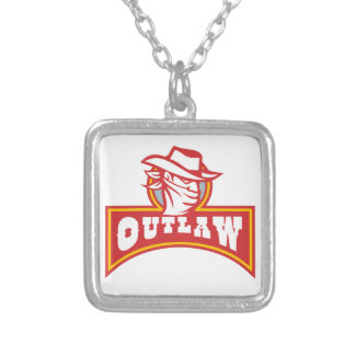 Bandit With Outlaw Text Retro Silver Plated Necklace
