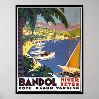 Bandol Cote D'azur France Travel Poster Print