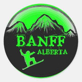 Banff Alberta Canada green snowboard stickers