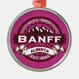 Banff Logo Raspberry Silver-Colored Round Ornament