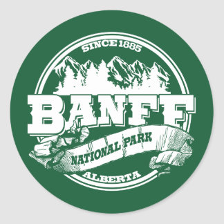 Banff Old Circle Green Round Sticker