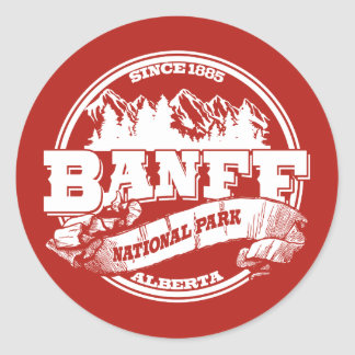 Banff Old Circle Red Classic Round Sticker