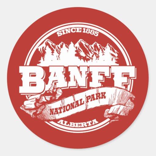 Banff Old Circle Red Round Sticker