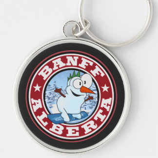 Banff Snowman Circle Silver-Colored Round Keychain