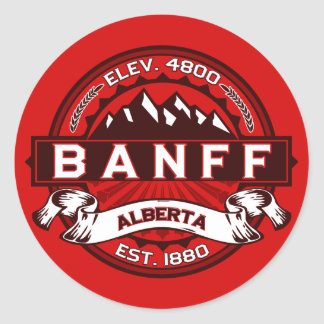 Banff Tile Red Classic Round Sticker