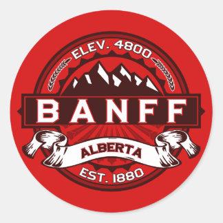 Banff Tile Red Round Sticker