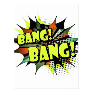 Bang bang comic book effect sound postcard