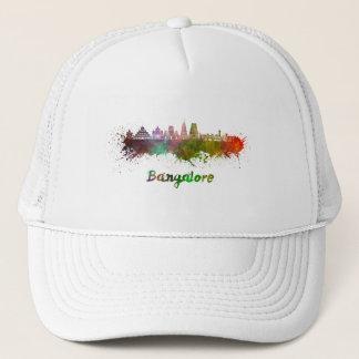 Bangalore skyline in watercolor trucker hat