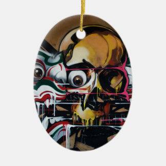 Bangkok Skull Graffiti Ceramic Oval Ornament