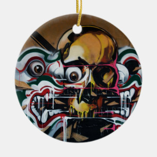 Bangkok Skull Graffiti Round Ceramic Ornament