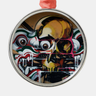 Bangkok Skull Graffiti Silver-Colored Round Ornament