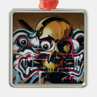 Bangkok Skull Graffiti Silver-Colored Square Ornament