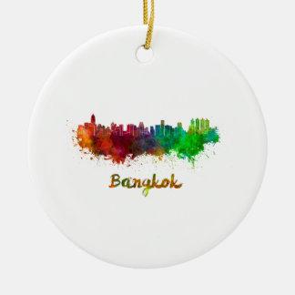 Bangkok skyline in watercolor ceramic ornament