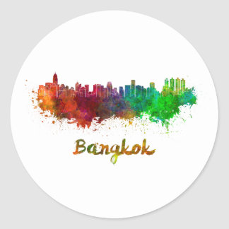 Bangkok skyline in watercolor classic round sticker