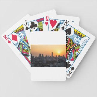 Bangkok skyline sunset panorama background bicycle playing cards