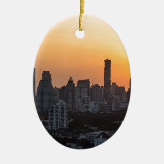 Bangkok skyline sunset panorama background ceramic oval ornament