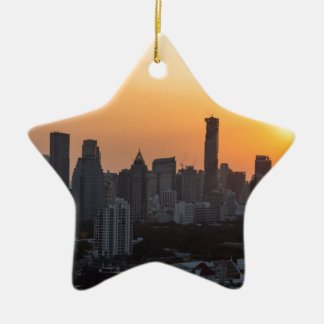 Bangkok skyline sunset panorama background ceramic star ornament
