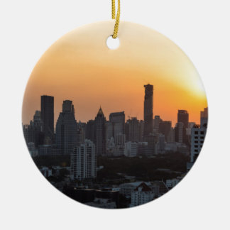 Bangkok skyline sunset panorama background round ceramic ornament