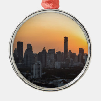 Bangkok skyline sunset panorama background Silver-Colored round ornament