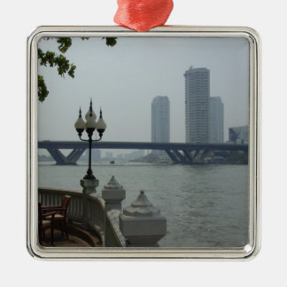 Bangkok Thailand Chao Phraya River Overlook Silver-Colored Square Ornament