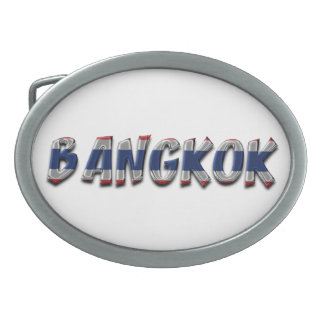 Bangkok Thailand Thai Flag Colors Typography Oval Belt Buckle